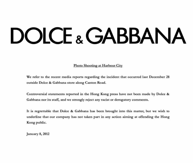 D&G Apology: Tell us what you think! - EN3310 Creative